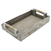 Cathay Importers Rustic Grey Wash Wood Rectangle Tray