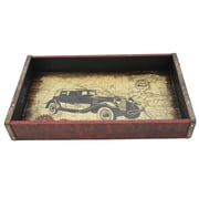 Cathay Importers Vintage Small Wood Tray with Metal Frame, Car (EC-10-2350-CAR)