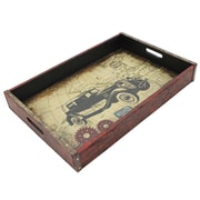 Cathay Importers Vintage Large Wood Tray with Metal Frame, Car (EC-10-2351-CAR)