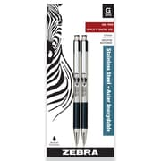 Zebra G-301 Stainless Steel Retractable Gel Pen, 2/Pack