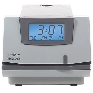 Pyramid Time Systems 3000 Series Unlimited Employee Document Stamp Manual Punch Time Clock, Light Gray (3500)