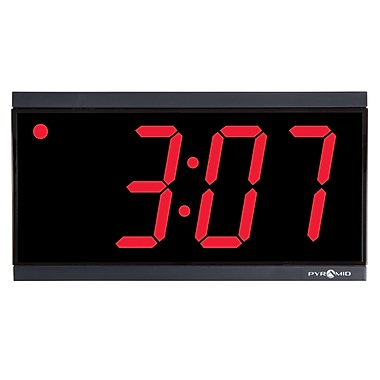 Pyramid Time Systems Stand Alone 4 Digit Black Bezel Red Led Digital Wall