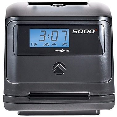 Pyramid Time Systems® 5000 Series 100 Employee Auto Totaling Manual Punch Time Clock, Black (5000)