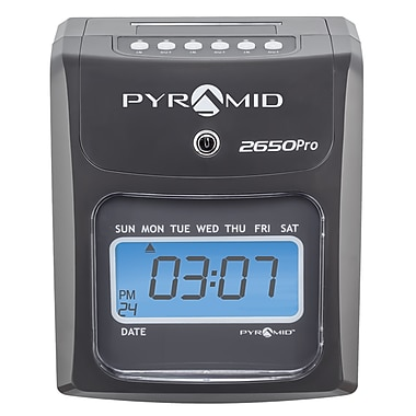 Pyramid Time Systems® 2000 Series Unlimited Employee Auto Aligning Manual Punch Time Clock, Charcoal (2650)