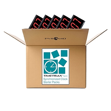 Pyramid® Time Systems Synchronized RF Wireless Black Bezel Red LED 4-Digit LED Digital Clock Starter Kit (WSCBD-5)