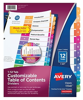 Avery® Ready Index® Table of Contents Dividers for Laser/Inkjet Printers, 12-Tab, Multicolor (11141)