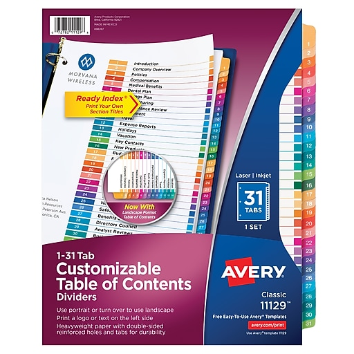 avery ready index table of contents monthly tab dividers 1 31 multicolor