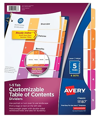 Avery 5-Tab Ready Index Durable Table of Contents Dividers, Multicolor, 6/Pack (11187)