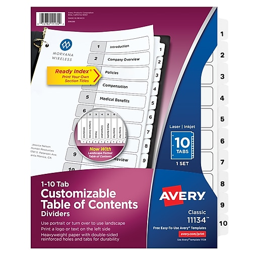 avery 10 tab ready index classic black white table of contents