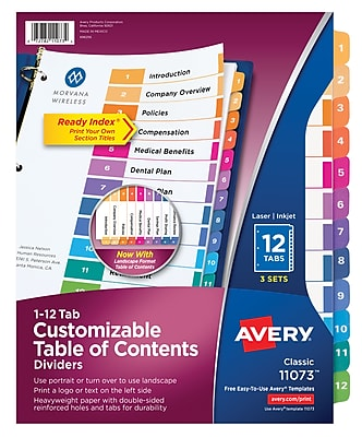 Avery(R) Ready Index(R) Table of Contents Dividers 11073, 12-Tab, 3 Sets