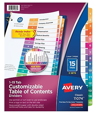 Avery® Ready Index® Table of Contents Dividers 11074, 15-Tab, 3 Sets