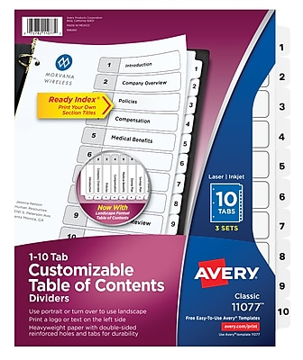 Avery Customizable Table of Contents Dividers, Ready Index Printable Section Titles, Preprinted 1-10 White Tabs, 3 Sets (11077)