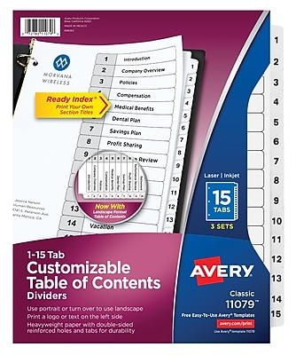 Avery Customizable Table of Contents Dividers, Ready Index Printable Section Titles, Preprinted 1-15 White Tabs, 3 Sets (11079)