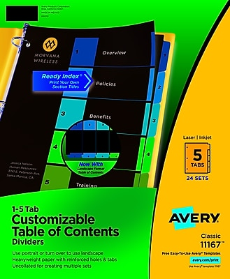 Avery® Ready Index Table of Contents Dividers, Multicolor Tabs, 24/Sets (11167)
