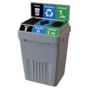 CleanRiver Flex E Sturdy 3-in-1 Waste, Recycling & Compost Bin with High Impact Backboard, 50 Gallon, Grey (FX50B-GY3-W-R-C)