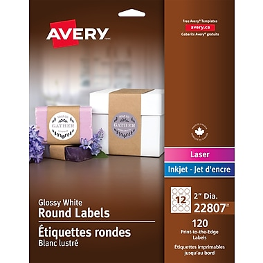 Avery® White Laser/Inkjet Glossy Print-to-the-Edge Round Labels, Permanent, 2