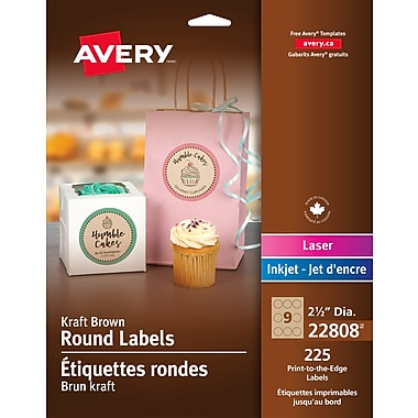 Avery Kraft Brown Laser/Inkjet Permanent Print-to-the-Edge Round Labels, 2-1/2