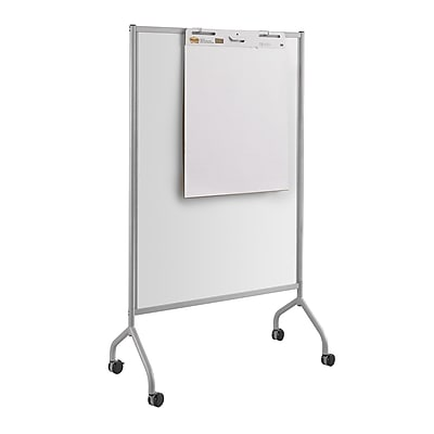 Safco® Impromptu® Magnetic Full Dry-Erase Whiteboard Screen, Steel Frame, Gray, 42 x 72 (8511GR)