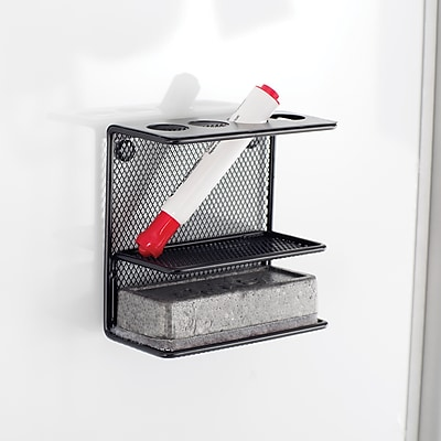 Safco® Onyx™ Steel Mesh Marker Holder with Shelf, Black (3611BL)