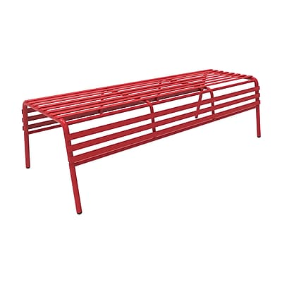 Safco CoGo Steel Outdoor/Indoor Bench with Back, Red (4369RD)