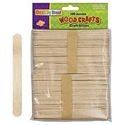 "Chenille Kraft Company® Jumbo Wood Craft Sticks, Natural, 6"" x 0.75"" x 0.0787"", 100/Pack"