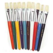 Flat Wooden Handle Brushes, Set of 10