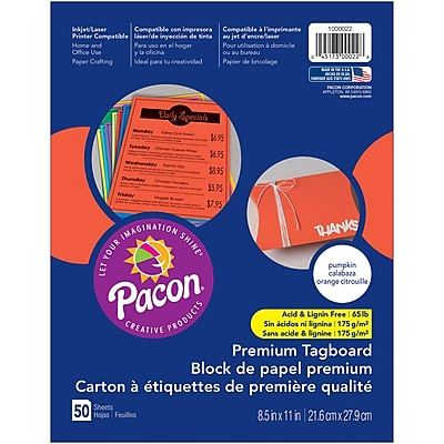 Pacon, Premium Tagboard Pumpkin Orange, 8.5