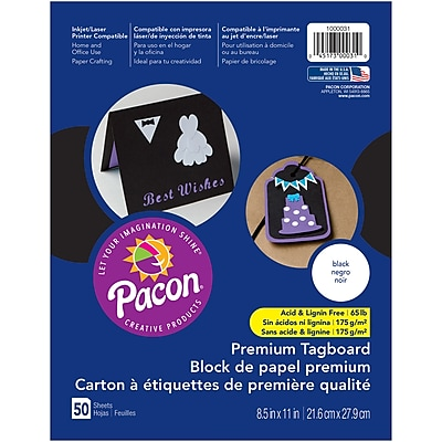 """Pacon, Premium Tagboard Black, 8.5"""" x 11"""", Bundle of 5 Packs for a total of 250 Sheets (PAC1000031)"""