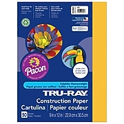 """Pacon Tru-Ray Construction Paper 12"""" x 9"""", Gold, 50 Sheets (PAC102997)"""
