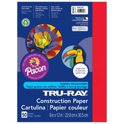 """Pacon Tru-Ray Construction Paper 12"""" x 9"""", Festive Red, 50 Sheets (PAC103431)"""