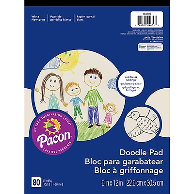 Pacon® Art Street® White Doodle Pad, 12