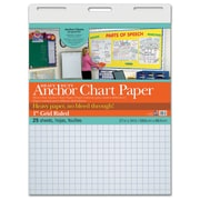 "Pacon® Heavy Duty Anchor Chart Paper, 27"" x 34"", White, 1"" Grid Rule, 25 sheets/pad (PAC3372)"