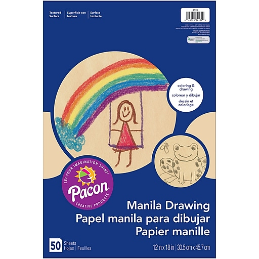 "Pacon® Manila Drawing Paper, 12"" x 18"", 6 Packs of 50 Sheets Per Pack"