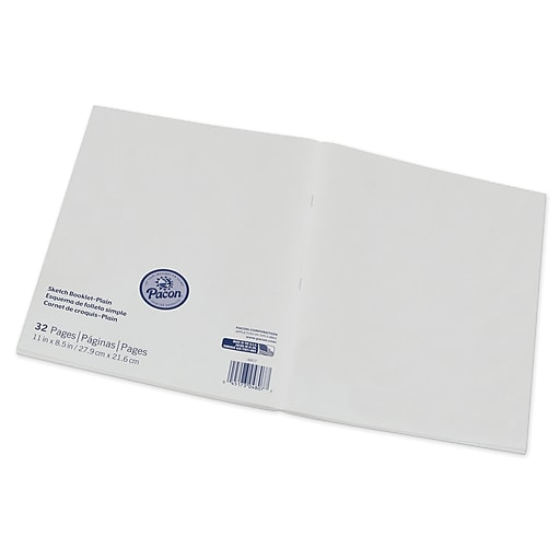 """Pacon® Beginner Sketch Booklet, blank sheets, 8.5"""" x 11"""", White, 16 Sheets per book, bundle of 12 books (PAC4808)"""