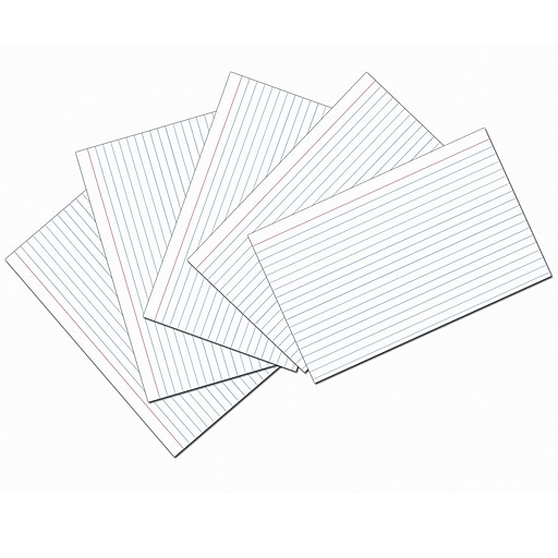 White 5x8 Ruled Index Cards 100pk, White. Sold as a set of 5 packs, each pack has 100 cards for a total of 500 (PAC5137).