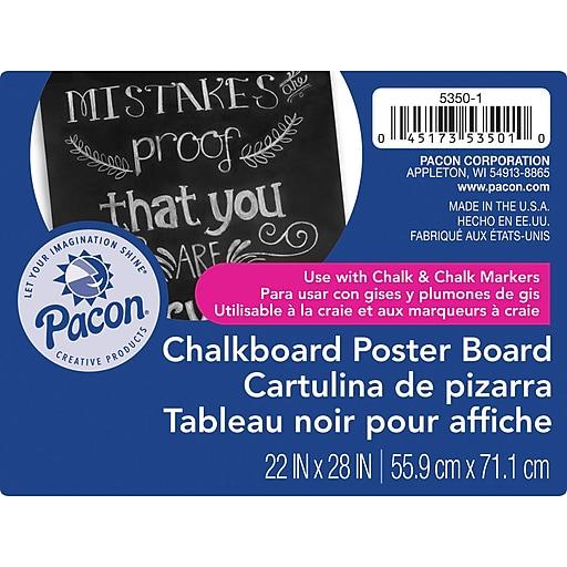 Pacon Chalkboard 28in x 22in Poster Board, Black, 25/Box (PAC53501)