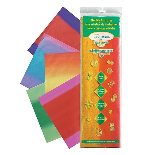 """Spectra Deluxe Bleeding Art Tissue Paper, 12"""" x 18"""", Madras Patterns, 50 Sheets (PAC58560)"""