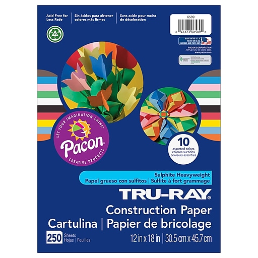 "Pacon Tru Ray 12"" x 18"" Construction Paper, Assorted, 250/Pack (PAC6589)"