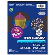 """Tru Ray Chalk Paper Pad, 9"""" x 12"""", Black (PAC6591). Sold as a set of 6, each pack has 40 sheets, for a total of 240."""