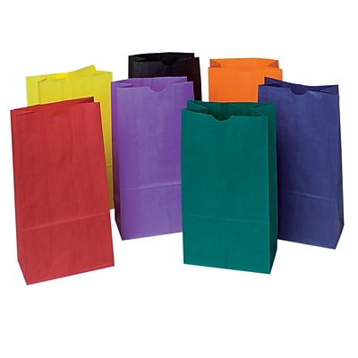 Pacon Corporation PAC72140 Assorted Rainbow Bright Kraft Bag, 11