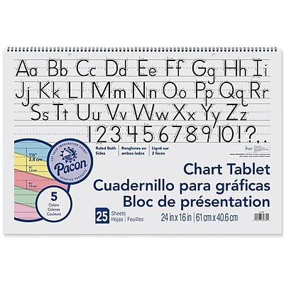 Colored Chart Tablets, Ruled, Spiralbound, 24