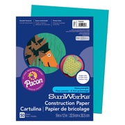 "Pacon® SunWorks® Groundwood Construction Paper, Turquoise, 9""(W) x 12""(L), 50 Sheets"