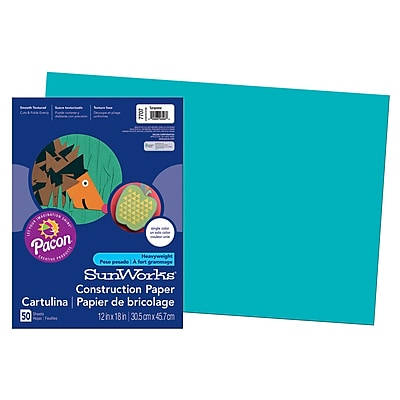 Pacon® SunWorks® Groundwood Construction Paper, Turquoise, 12