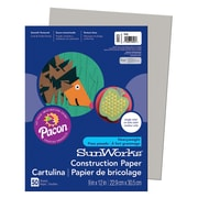 "Pacon® SunWorks® Groundwood Construction Paper, Gray, 9""(W) x 12""(L), 50 Sheets"
