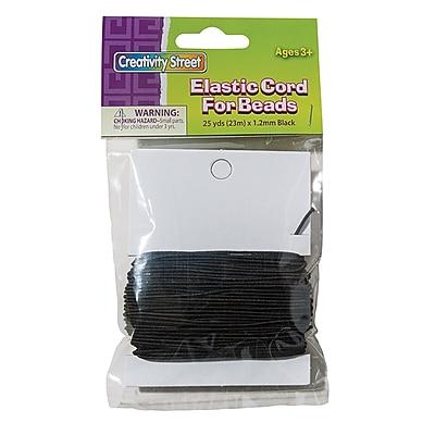 Creativity Street® Cord, 1.2 mm x 25 yds., Black Elastic, bundle of 3 (PACAC3728)