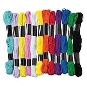 Pacon Embroidery Thread Ages 3+, Thread 3 Count of 12 Assorted Colored Thread Per Order (PACAC6475)