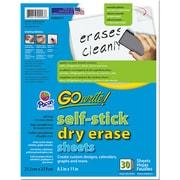 Pacon Go Write Dry Erase Sheets 30PK 8 1/2 X 11 Plain, Melamine, Self Stick (PACASB8511)