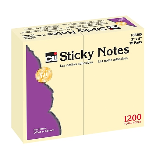 """Charles Leonard Sticky Notes, 3"""" x 5"""", 12 Pads Per Pack, Bundle of 3 Packs (CHL33305)"""
