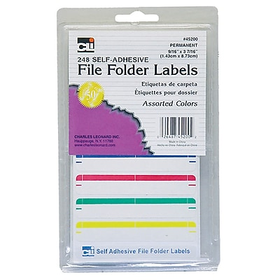 Charles Leonard File Folder Labels, Assorted Colors, 6 packs of 248 (CHL45200)