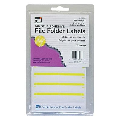 Charles Leonard File Folder Labels, Yellow, 6 packs of 248 (CHL45240)